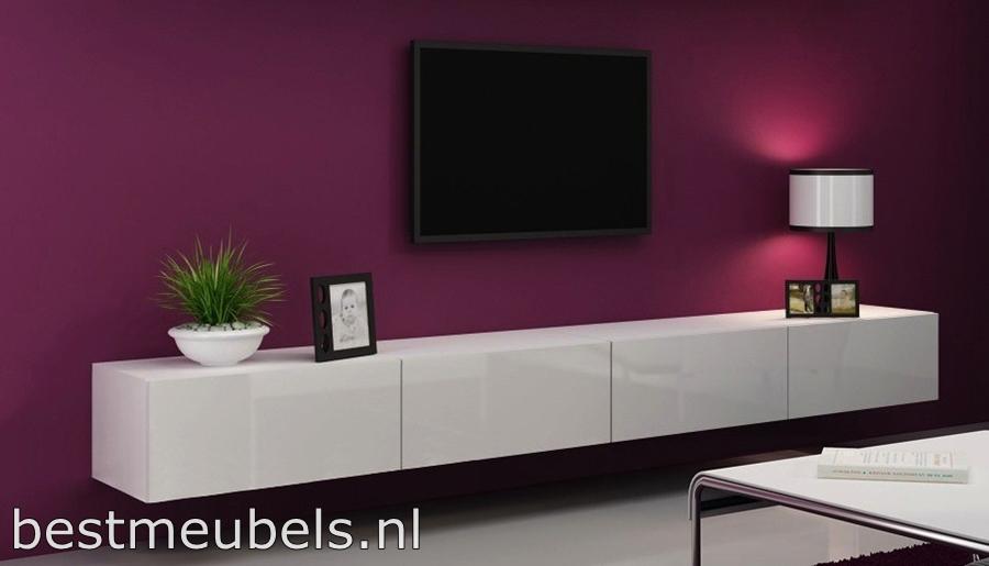 design tv-meubel hoogglans wit zwart