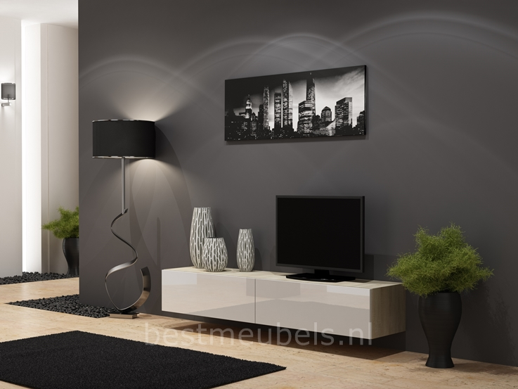 zwevende tv meubel hoogglans wit