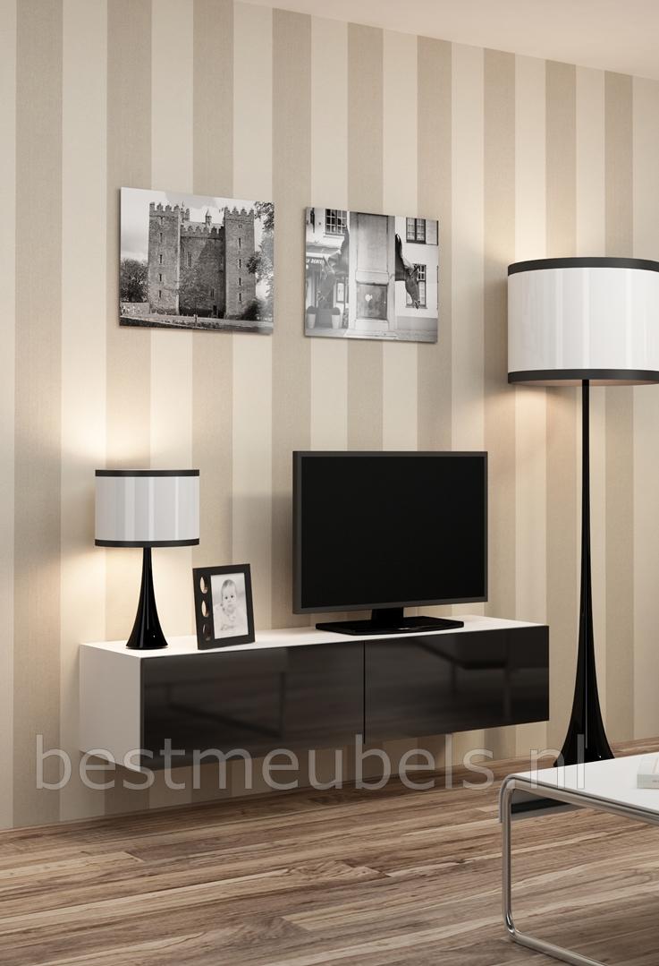 hangende tv meubel hoogglans wit