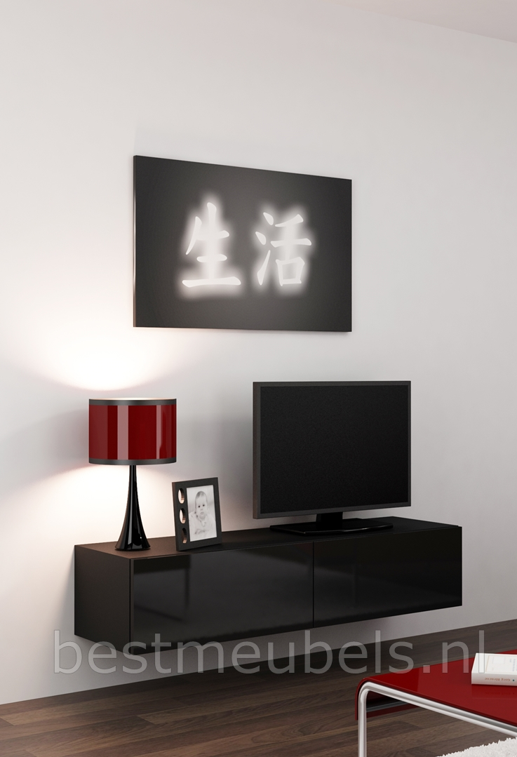verdi 4 140cm zwevend tv meubel tv kast hoogglans verdi tv wandmeubels best. Black Bedroom Furniture Sets. Home Design Ideas