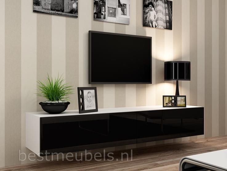 zwevend tv kast hoogglans wit